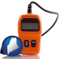 me map icon and an automobile diagnostic tool